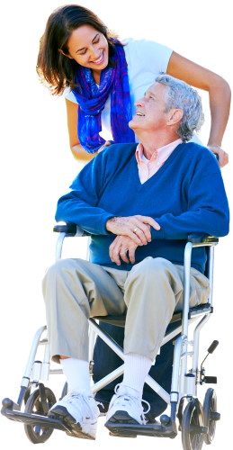 elder woman on wheelchair assisted by the caregiver